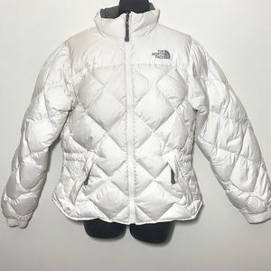 The North Face 600 White Grey Goose Down Coat Med